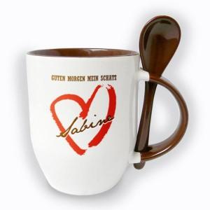 individuelle Tasse die Ihrem Schatz einen guten Morgen wünscht