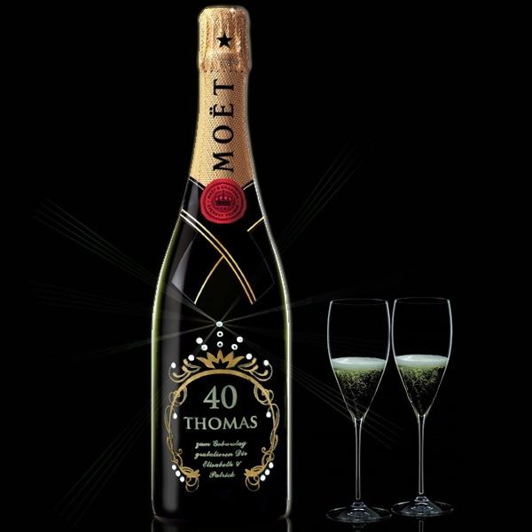 Edle Champagnerflasche mit echten Swarovski-Kristallen zum Geburtstag!