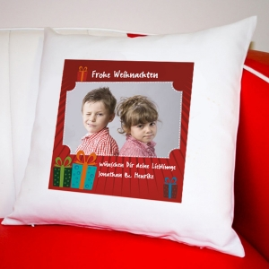 Wuderschönes Weihnachtsgeschenk: ein bedrucktes Kissen mit Foto und Weihnachtsgruß