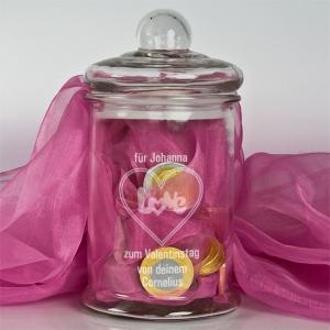 Sweets for my sweets, sugar for my heart.... Verschenken Sie Süßes an Ihre Süßen mit dieser wunderschönen Glasdose!