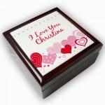 Wunderschöne Schmuckdose mit Namen und romantischen Motiv
