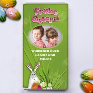 Verschenken Sie persönliche Ostergrüße mit einer fröhlichen Osterschokolade!
